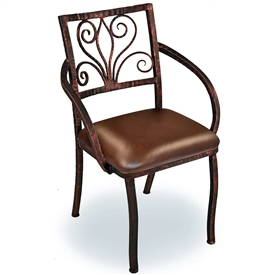 Pictured is our Alexander Dining Arm Chair, hand-forged by artisan blacksmiths.