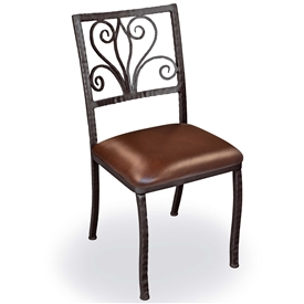 Pictured is our Alexander Dining Side Chair, hand-forged by artisan blacksmiths.