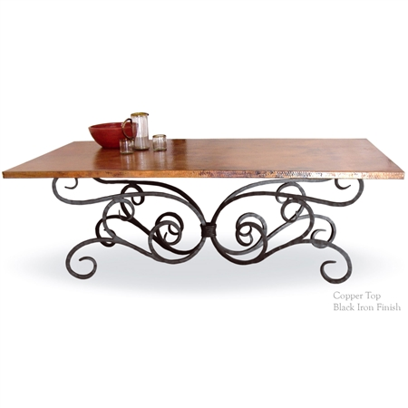 Pictured here is the Alexander Dining Table with wrought iron table base and 84 x 42-inch copper table top.