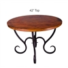 "Pictured here is the Milan Dining Table with 42"" Round Top hand crafted by skilled artisan blacksmiths."