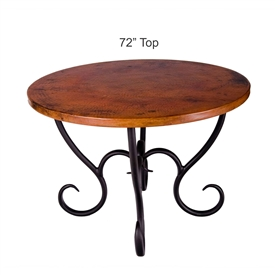 "Pictured here is the Milan Dining Table with 72"" Round Copper Top hand crafted by skilled artisan blacksmiths."