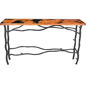 "Pictured here is the South Fork Console Table with 50"" x 20"" Top hand crafted by skilled artisan blacksmiths."