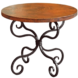 "Pictured here is the Alexander End Table with 30"" Round Top hand crafted by skilled artisan blacksmiths."