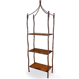 Pictured is our Rustic style South Fork Double Iron Etagere hand-made by Mathews & Co.