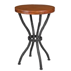 Wrought Iron Woodland Accent Table with Copper Top by Mathews & Company