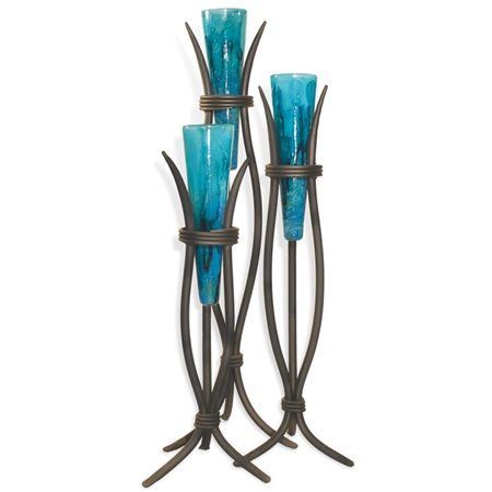 Pictured here is the Milan Floor Vase set of 3 with hand blown and hand painted glass vases set in hand-forged wrought iron stands.