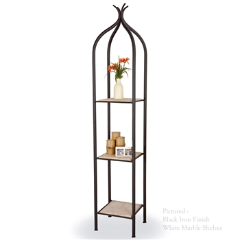 Pictured is our Contemporary style Milan Single Iron Etagere hand-made by Mathews & Co.