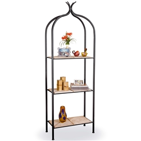 Pictured is our Contemporary style Milan Double Iron Etagere hand-made by Mathews & Co.