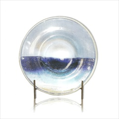 "Wrought Iron Azul Sky 21"" Platter with Stand by Mathews & Co."