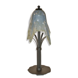 Wrought Iron Buttercup Table Lamp with Glass Shade by Mathews & Co.