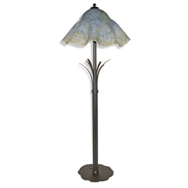 Pictured is our Contemporary style wrought iron Buttercup Floor Lamp with Glass Shade hand-made by Mathews & Co.