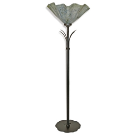 Pictured is our Contemporary style wrought iron Buttercup Torchiere Floor Lamp with Glass Shade hand-made by Mathews & Co.