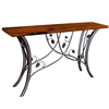 "Pictured here is the Piney Woods Console Table with 60"" x 14"" Top hand crafted by skilled artisan blacksmiths."