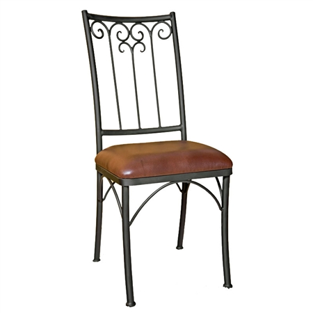Pictured is our Milan Dining Side Chair, hand-forged by artisan blacksmiths.