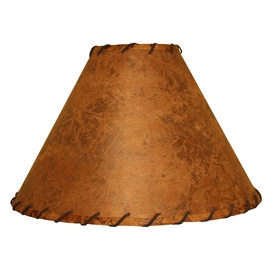 Rawhide Floor Lamp Shade w/Leather Trim 22""