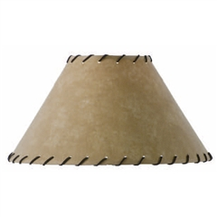 Parchment Floor Lamp Shade w/Leather Trim 22""