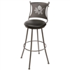 Pictured here is the Pine Cone Bar Stool with swivel seat available in several iron finish and upholstered or wood seat options.