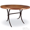 "Pictured here is the Salisbury Dining Table with 48"" Round Top hand crafted by skilled artisan blacksmiths."