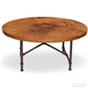 Pictured here is the Burlington Coffee Table with 42inch Round Top, handcrafted by skilled artisan blacksmiths.