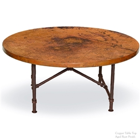 "Pictured here is the Burlington Coffee Table with 42"" Round Top hand crafted by skilled artisan blacksmiths."