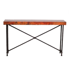 "Pictured here is the Burlington Console Table with 60"" x 14"" Top hand crafted by skilled artisan blacksmiths."