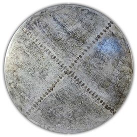 "These Round Zinc Tops are Hand-Hammered with a natural zinc patina and available in diameters from 18"" to 72"""