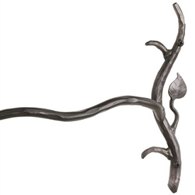Pictured here is the Sassafras 16-inch Iron towel Bar with a natural rustic theme hand-forged by Stone County Ironworks