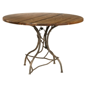 Hand-Forged Rustic Pine Breakfast Table made by Stone County Ironworks, sold at www.TimelessWroughtIron.com