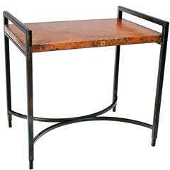 Rectangular Iron Tray Table in Fire Finish with Hammered Copper Top