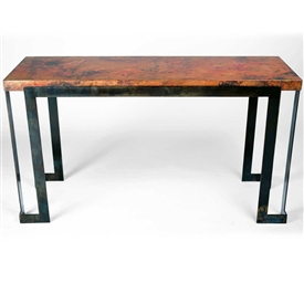 Steel Strap Console Table with Hammered Copper Top