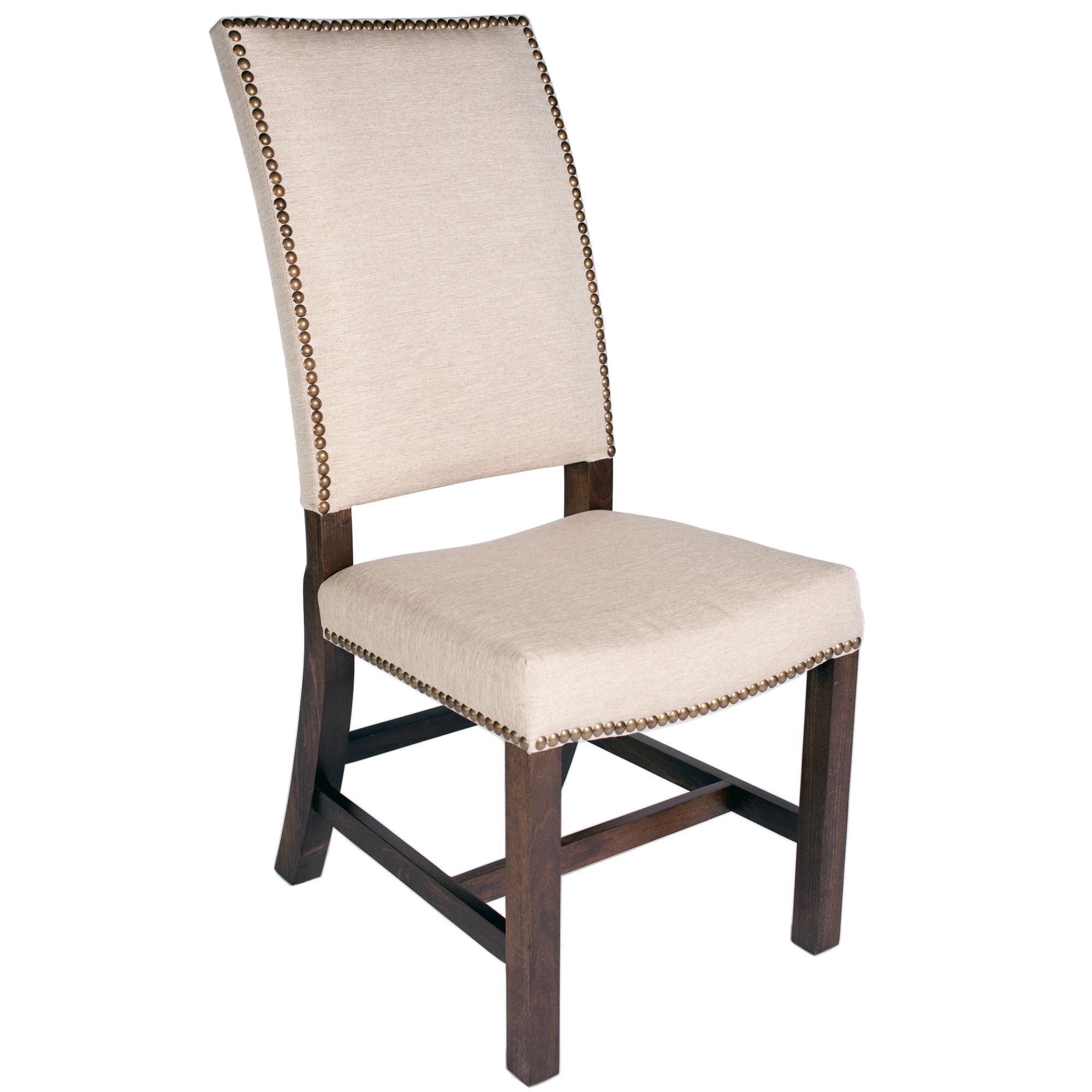 High back fabric chair with nail heads for Large dining chairs