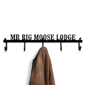 Pictured here is the 5 Hook wall mounted coat rack that can be personalized with up to 18 characters.