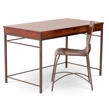 Pictured here is the Newhart Desk with Charcoal iron finish and Maple top with drawer by Charleston Forge.