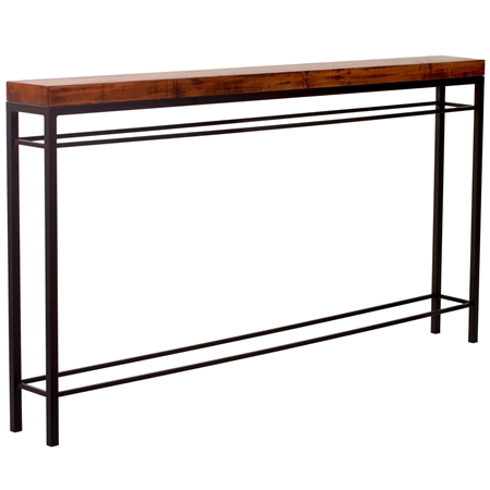 Pictured is the Charleston Forge manufactured Newhart 70-in Iron Console Table that measures 70-in x 8-in x 40.75-in with custom iron finishes and table top options to choose from.