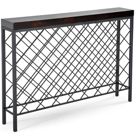 Pictured here is the Newhart 53 Bottle Wine Console with a charcoal finish on the iron base and an Ebony on Maple Top.