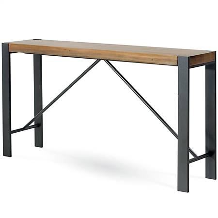 Pictured here is the Craftsman Console Table with a clean hand-forged Iron base and thick wood slab table top options.