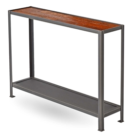 Pictured here is the Edison Console Table with Reclaimed Wood top, manufactured by Charleston Forge.