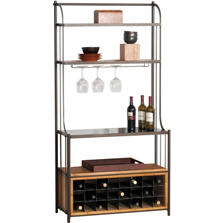 Pictured here is the Deluxe Studio Bakers Rack in Antique Pewter finish, with maple shelves and wine storage cabinet in our honeysuckle wood finish and Coco Bronze stone work surface.