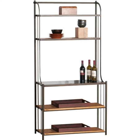 Pictured here is the Deluxe Studio Bakers Rack in Antique Pewter finish, with maple shelves in our honeysuckle wood finish and Coco Bronze stone work surface.