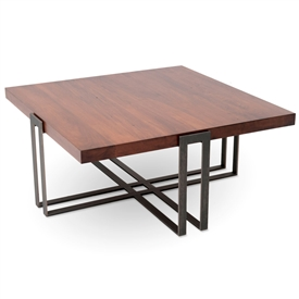 Pictured is our 54-inch square transitional style Watson cocktail table with clean iron lines and thick wood slab table top by Charleston Forge.