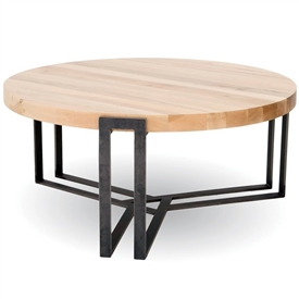 Pictured is the 54-inch round transitional style Watson cocktail table with clean iron lines and thick wood slab table top from Charleston Forge.