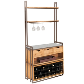 Pictured here is the Deluxe Wentworth Bakers Rack in Gunmetal finish, with maple shelves and storage cabinet in our honeysuckle wood finish and Coco Bronze stone work surface.