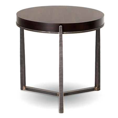 Pictured here is the forged iron Cooper Round End Table available in numerous fine iron finishes and table tops to choose from.