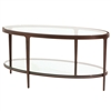 Pictured is the Ellipse Cocktail Table which measures 43-in by 27-in by 18.55-in with custom iron finishes and table top options to choose from.
