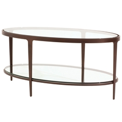 Ellipse Cocktail Table With Oval Iron Base and Glass Inset Top by Charleston Forge