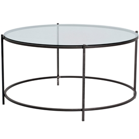 Pictured is the Oculus Cocktail Table which measures 35-in by 35-in by 18.75-in with custom iron finishes and table top options to choose from.