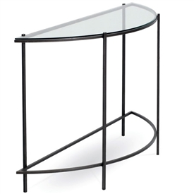 Oculus Half Round Console Table With Iron Base with Glass Table Top by Charleston Forge