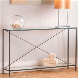 Pictured is the Charleston Forge manufactured Covina Console Table that measures 55-in x 12.5-in x 33.25-in with custom iron finishes and table top options to choose from.