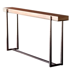 Pictured is the Charleston Forge manufactured 70-in Cooper Console Table that measures 70-in x 10-in x 34.25-in with custom iron finishes and table top options to choose from.