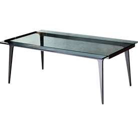 Pictured is the Madison Cocktail Table which measures 51-in by 29-in by 19.5-in with custom iron finishes and table top options to choose from.